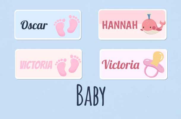 Navnelapper med baby motiv