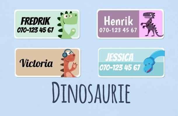 Navnelapper med dinosauruser