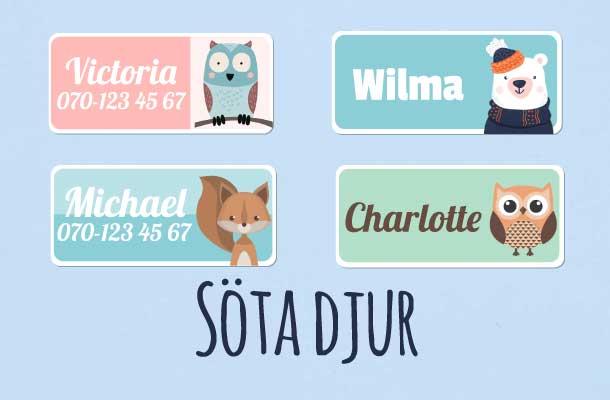 Navnelapper med søte dyr motiv