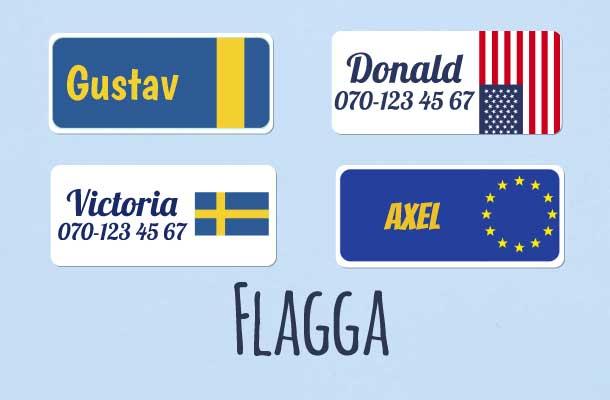 Namnlappar med flaggor