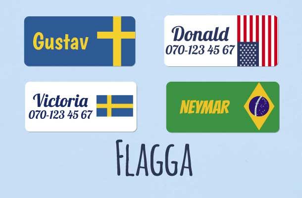 Navnelapper med flagg