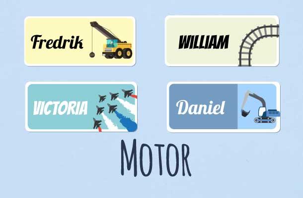 Navnelapper med motor motiv