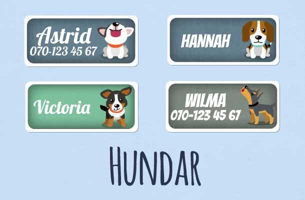 Ferdige navnelapper med hunder