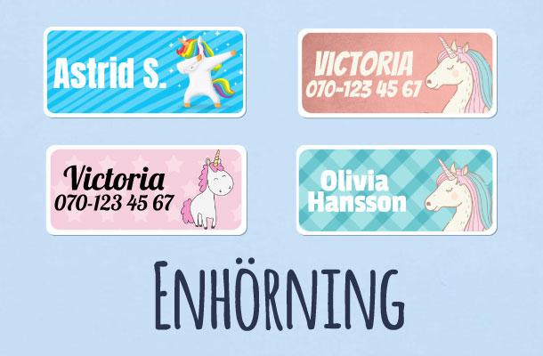 Navnelapper med prinsesser og enhjørninger